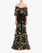 Marchesa Flutter-Sleeve Fit Flare Gown
