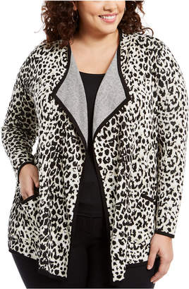 Belldini Plus Size Drape-Front Animal-Print Cardigan