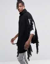 Asos Poncho With Tassles In Black