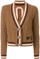 No.21 cable knit V-neck cardigan