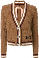 No.21 cable knit V-neck cardigan