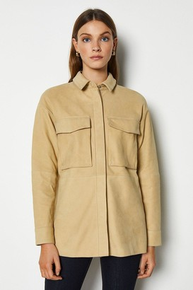 Karen Millen Premium Buffed Leather Military Oversized Shirt
