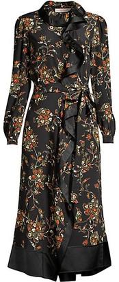 Tory Burch Floral Ruffle-Trim Silk Midi Shirtdress