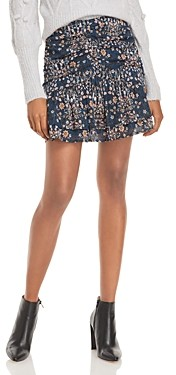 Aqua Floral Print Ruched Mini Skirt - 100% Exclusive
