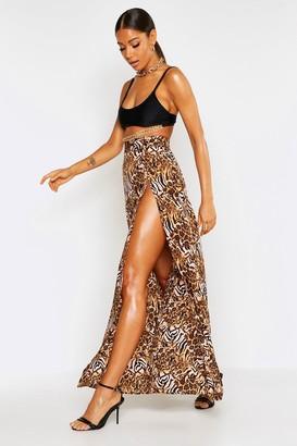 boohoo Mixed Animal Thigh Split Maxi Skirt