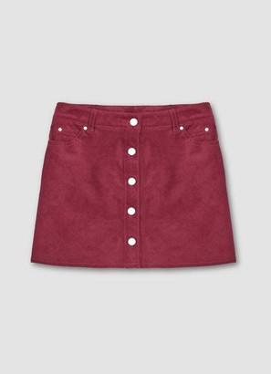 Mint Velvet Berry Cord Button Front Skirt
