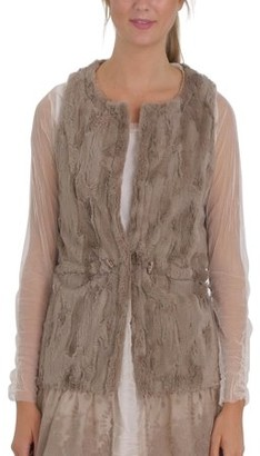 Melody Women Fashion Faux Fur Round Neck Vest with Lace Bottom (MOCHA, SMALL)
