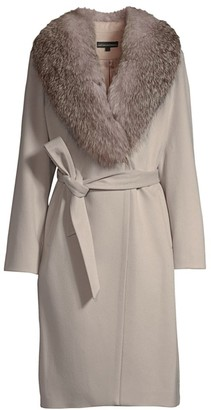 Sofia Cashmere Natural Fox Fur Collar Wool & Cashmere Belted Coat