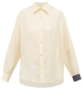 La Prestic Ouiston Varenne Contrast-panel Silk-twill Shirt - Womens - Cream Multi