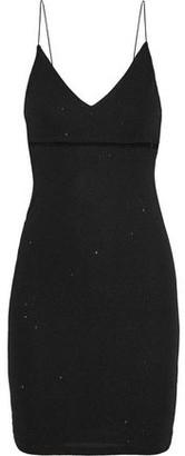 Alice + Olivia Dixon Mesh-trimmed Metallic Stretch-knit Mini Dress