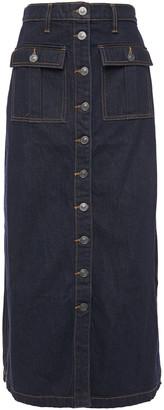 Current/Elliott Button-detailed Denim Midi Skirt