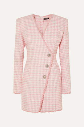 Balmain Wrap-effect Button-embellished Tweed Mini Dress - Pink