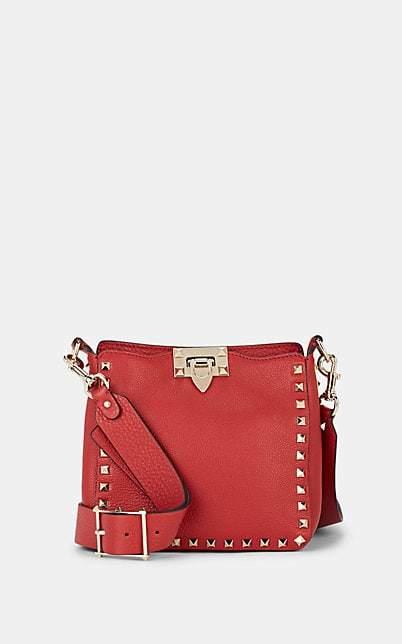 Valentino Women's Rockstud Mini Leather Crossbody Bag - Red