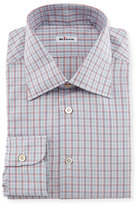 Kiton Check Woven Dress Shirt, Blue/Red