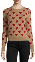 Burberry Crewneck Heart-Print Wool Sweater, Camel
