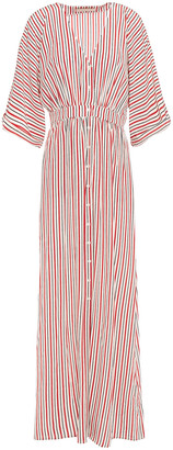 Vanessa Bruno Lettie Gathered Striped Silk Crepe De Chine Maxi Dress