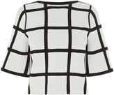 Karen Millen Check Top - Black & Ivory