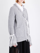 Sacai Fringed wool cardigan