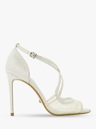 Dune Bridal Collection Markles Crystal Embellished Cross Strap Sandals, Ivory