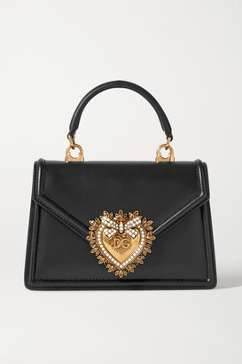 Dolce & Gabbana Devotion Mini Embellished Leather Tote - Black