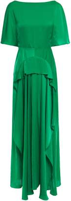 Maje Gathered Crinkled Satin Maxi Dress