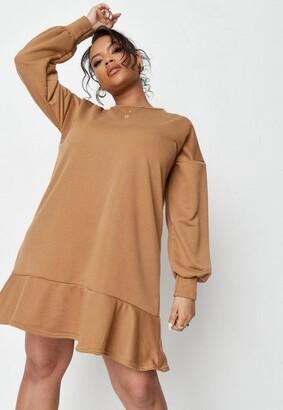 Missguided Plus Size Camel Frill Hem Midi Sweater Dress