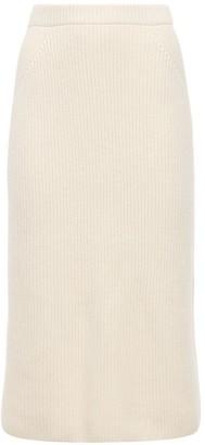 Loro Piana Cashmere Rib Knit Midi Skirt