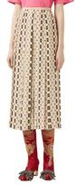 Gucci Pleated Logo-Print Crepe de Chine Midi Skirt