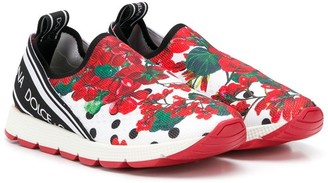 Dolce & Gabbana Floral Slip On Sneakers