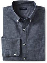Classic Men's Tall Traditional Fit Buttondown Chambray Shirt-Deep Blue Indigo