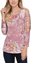 Celeste Dark Pink Floral Cutout-Sleeve Tunic - Plus