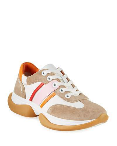 34091473e19 Striped Lace-Up Suede Sneakers