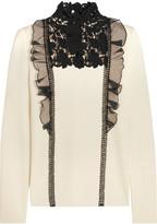 Giambattista Valli Silk-organza and guipure lace-trimmed wool sweater