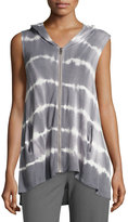 Neiman Marcus Tie-Dye Hooded Vest, Gray/White