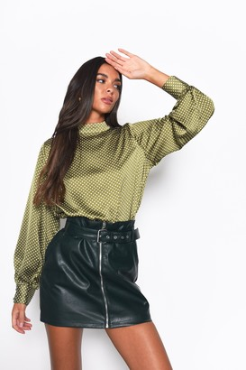 Glamorous Womens **Olive Dot High Neck Blouse By Olive