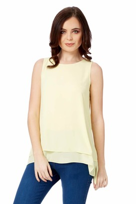 Roman Originals Women Sleeveless Chiffon Overlay Top - Ladies Everyday Smart Casual Holiday Cruise Travel Comfortable Floaty Loose Relaxed Boho Fit Party Tops - Lemon - Size 10