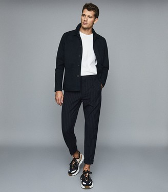 Reiss Pape - Pinstriped Straight-leg Trousers in Navy