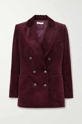 Bella Freud Bianca Double-breasted Cotton-corduroy Blazer - Burgundy