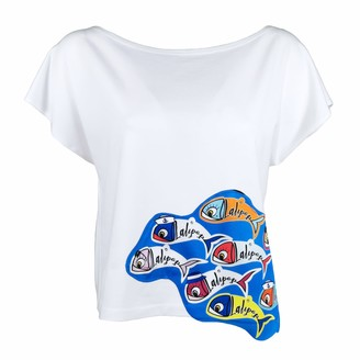 Lalipop Design White Boat Neck Blouse With Digital Fish Prints - Fishes In The Sea