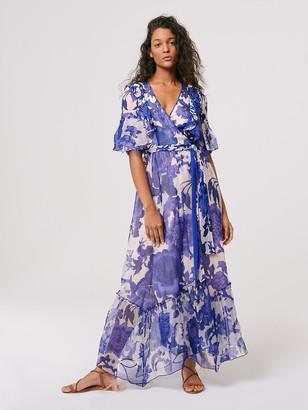 Diane von Furstenberg Lailie Chiffon-Organza Wrap Gown
