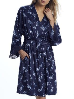 Lauren Ralph Lauren Navy Print Kimono Satin Robe