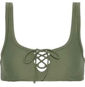 Onia Erin Lace-up Ribbed Bikini Top