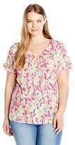 Caribbean Joe Women's Plus Size Best Selling Short Sleeve Weave V Neck Floral Printed Top