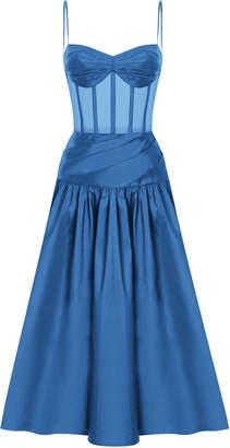 Rasario Pleated Silk-Blend Corset Dress