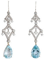 Vera Wang Diamond & Aquamarine Chandelier Earrings