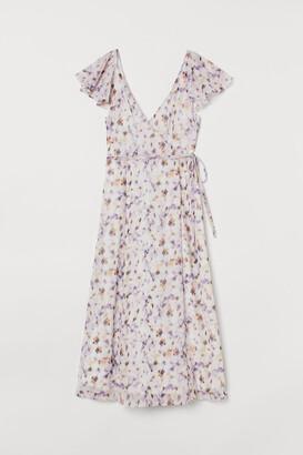 H&M Long V-neck Dress - White