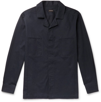 Ermenegildo Zegna Camp-Collar Cotton And Linen-Blend Twill Overshirt
