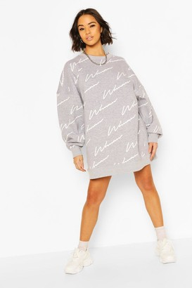 boohoo Woman All Over Print Oversized Sweat Dress
