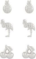 Accessorize Sterling Silver 3x Mixed Summer Stud Earrings Set