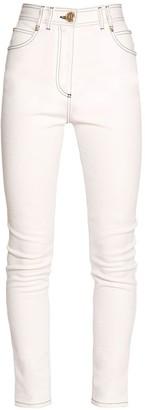 Balmain Topstitched Cotton Denim Skinny Jeans
